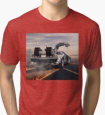 delorean time machine oil painting fan art Tri-blend T-Shirt