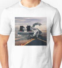 delorean time machine oil painting fan art T-Shirt