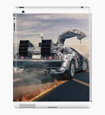 delorean time machine oil painting fan art iPad Case/Skin