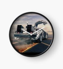 delorean time machine oil painting Clock