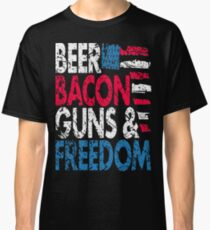 Beer Bacon Guns and Freedom Distressed USA Flag - Best Design Classic T-Shirt