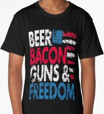 Beer Bacon Guns and Freedom Distressed USA Flag - Best Design Long T-Shirt