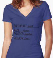 Birth Place Earth Race Human Politics Freedom Love T Shirt Women's Fitted V-Neck T-Shirt