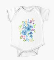 Blue Flowers in Watercolor Painting One Piece - Short Sleeve