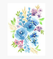Blue Flowers in Watercolor Painting Photographic Print