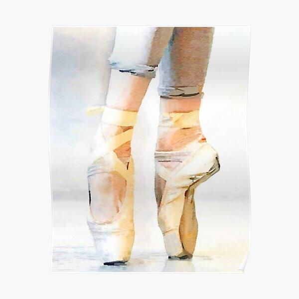 Ballerina En Pointe: a Ballet Dancer Watercolor Print Poster