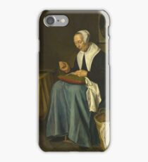 Johannes Van Der Aack - An Old Woman Seated Sewing iPhone Case/Skin
