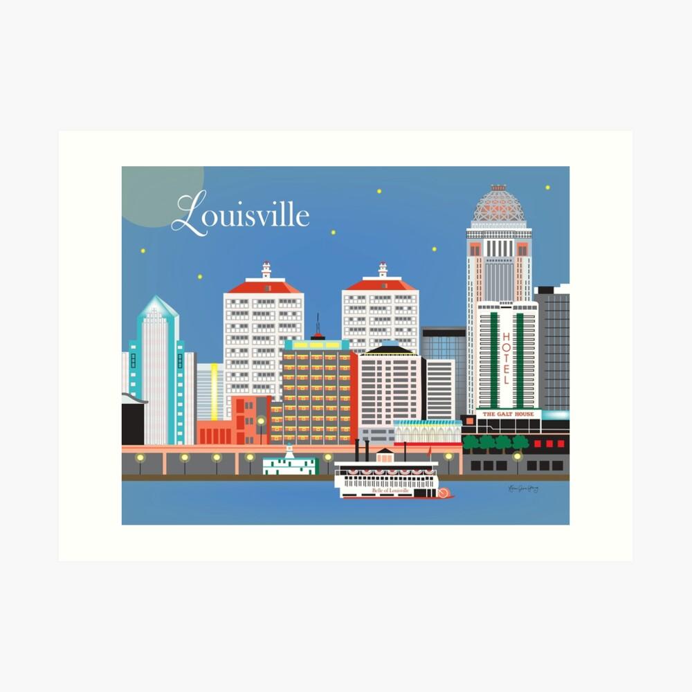 Louisville, Kentucky - Skyline-Illustration durch lose Blumenblätter Kunstdruck