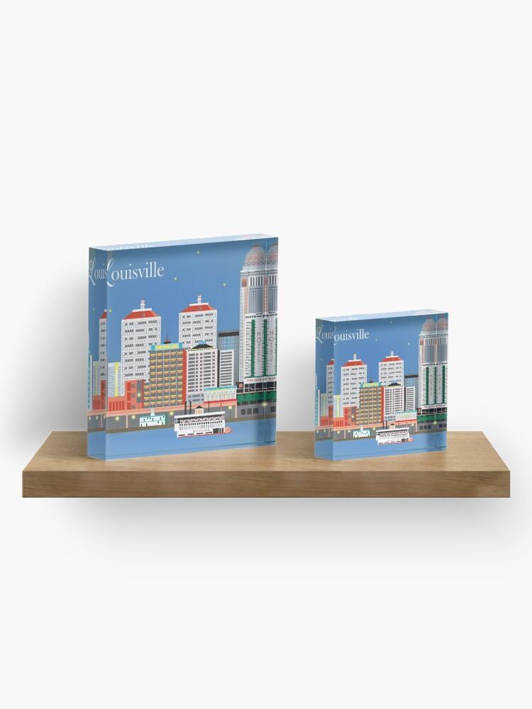 Alternative Ansicht von Louisville, Kentucky - Skyline-Illustration durch lose Blumenblätter Acrylblock