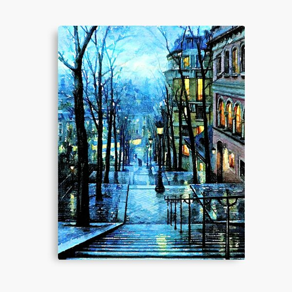 Montmartre, Paris France, at Night Canvas Print
