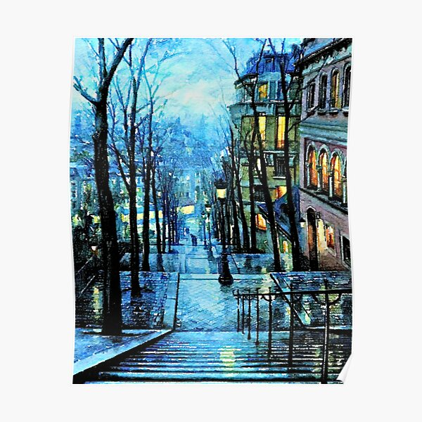 Montmartre, Paris France, at Night Poster
