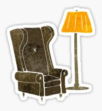 retro cartoon lamp and old chair Sticker