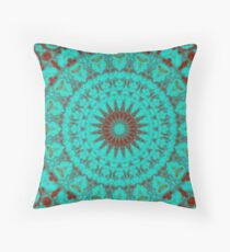 Mandala Fractal in Oxidized Copper 2 Throw Pillow