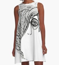 woman face ink sketched graphic A-Line Dress