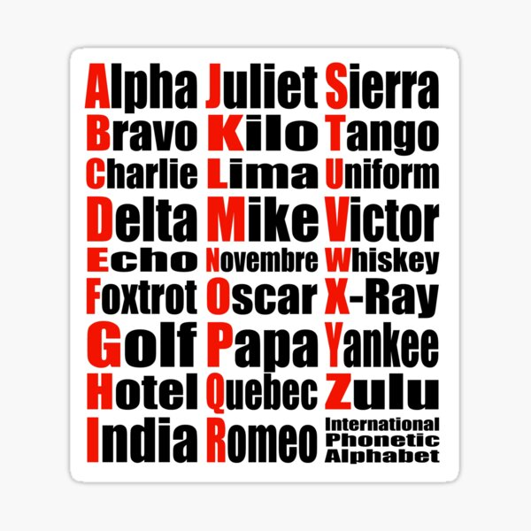 Phonetic Alphabet Stickers Redbubble