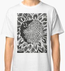 nature floral summer sunflower bw Classic T-Shirt