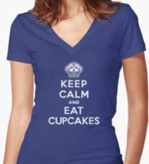 Keep Calm and Eat Cupcakes - white type Women's Fitted V-Neck T-Shirt