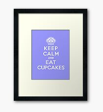 Keep Calm and Eat Cupcakes - white type Framed Print