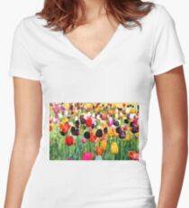 The Season Of Tulips Women's Fitted V-Neck T-Shirt