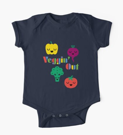 Veggin' Out (colored type) white Kids Clothes
