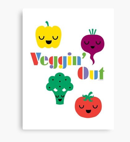 Veggin' Out (colored type) white Canvas Print