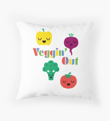 Veggin' Out (colored type) white Throw Pillow