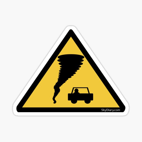 Caution Tornado! Storm Chasers Warning Sticker