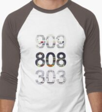 Roland 909 808 303 Classic Synth & Drum Machine Men's Baseball ¾ T-Shirt