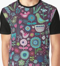 Birds & Blooms - blueberry Graphic T-Shirt