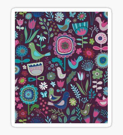 Birds and Blooms - blueberry - pretty floral bird pattern by Cecca Designs Sticker