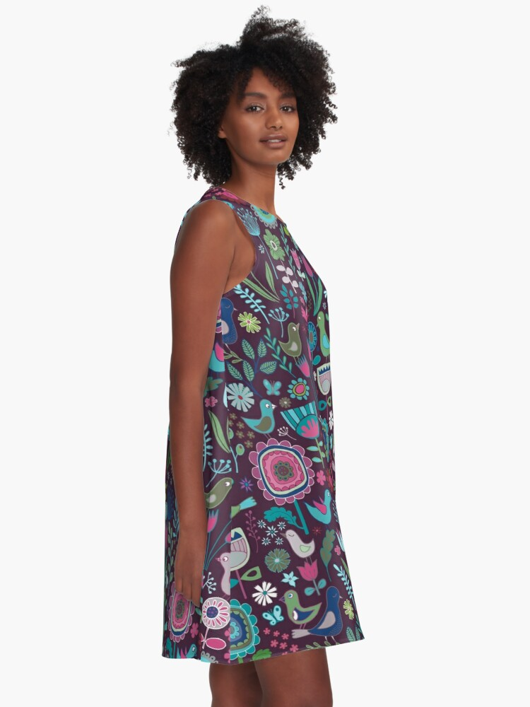 Alternate view of Birds and Blooms - blueberry - pretty floral bird pattern by Cecca Designs A-Line Dress