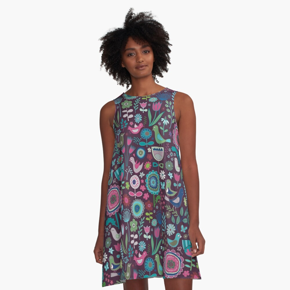 Birds and Blooms - blueberry - pretty floral bird pattern by Cecca Designs A-Line Dress Front