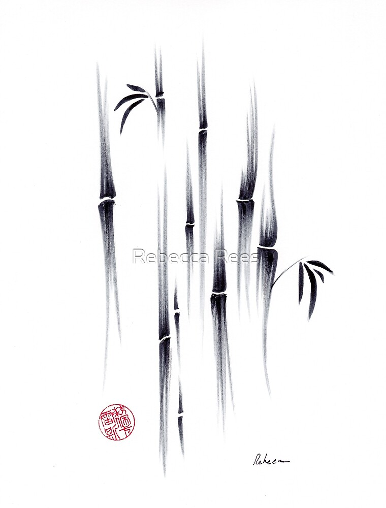 Dreamland - sumie ink brush zen bamboo painting by Rebecca Rees by Rebecca Rees