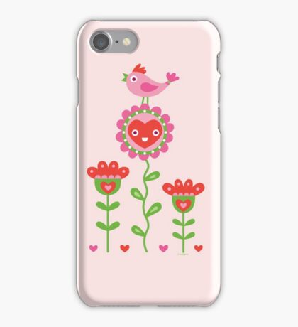 Happy - flower birds and hearts 2 iPhone Case/Skin