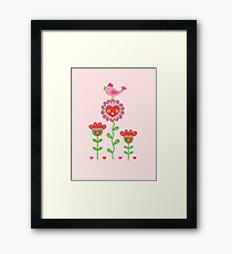 Happy - flower birds and hearts 2 Framed Print