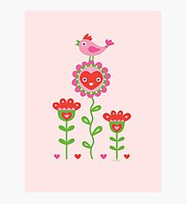 Happy - flower birds and hearts 2 Photographic Print