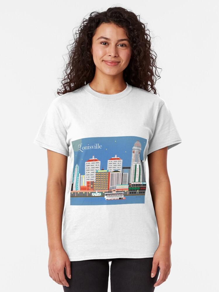 Alternative Ansicht von Louisville, Kentucky - Skyline-Illustration durch lose Blumenblätter Classic T-Shirt
