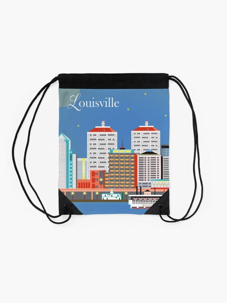 Alternative Ansicht von Louisville, Kentucky - Skyline-Illustration durch lose Blumenblätter Turnbeutel