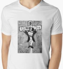 Wall St. Crucifix Mens V-Neck T-Shirt