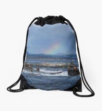 Rainbow at Race Rocks Drawstring Bag
