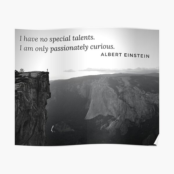 Passionately Curious Einstein Inspirational Quote Poster