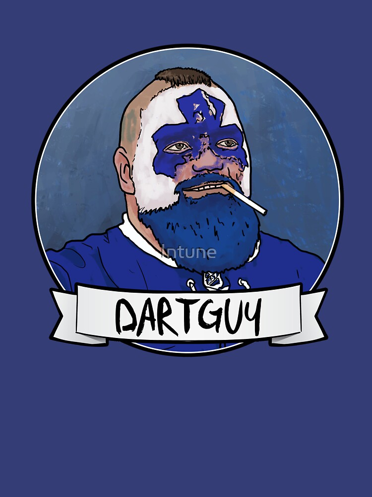 DartGuy DartMan Leafs Fan Hockey T-shirt Love Dart Guy by Intune