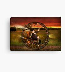 Steampunk - The gentleman's monowheel Canvas Print