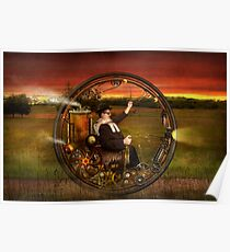Steampunk - The gentleman's monowheel Poster