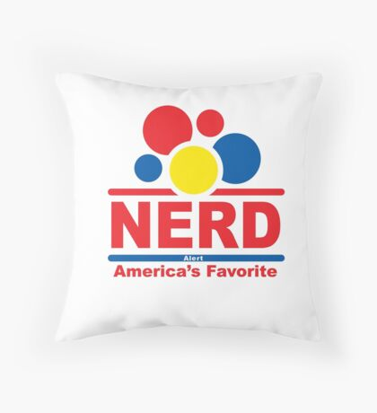 nerd alert white  Throw Pillow