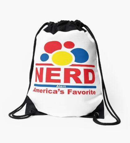 nerd alert white  Drawstring Bag