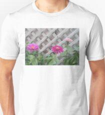 Three Pink Zinnias with Lattice  Unisex T-Shirt