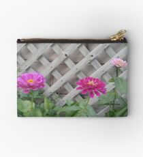 Three Pink Zinnias with Lattice  Studio Pouch