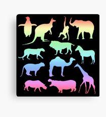 Wild Animals - Neon Canvas Print