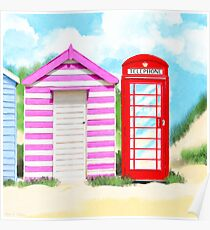 Britain In The Summer - Red Telephone Box & Pink Beach Hut Poster